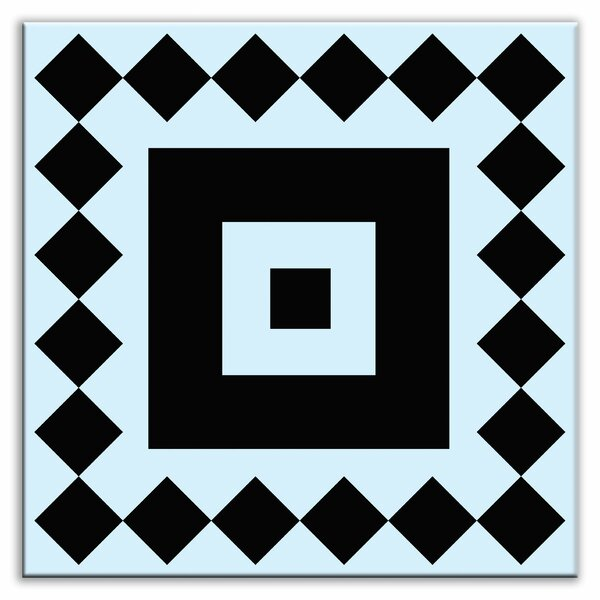 Folksy Love 6 x 6 Satin Decorative Tile in Checkers Black-Light Blue by Oscar & Izzy