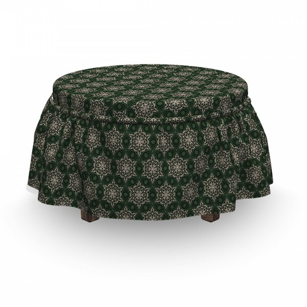 Floral Motif Timeless Ottoman Slipcover (Set Of 2) By East Urban Home