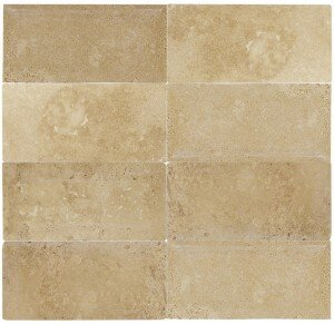 Mexican Travertin 3 x 6 Natural Stone Subway Tile in Travertino Caramel by Interceramic
