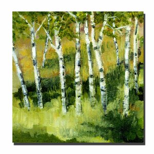 'Birch Trees' by Michelle Calkins Painting Print on Wrapped Canvas by Trademark Fine Art