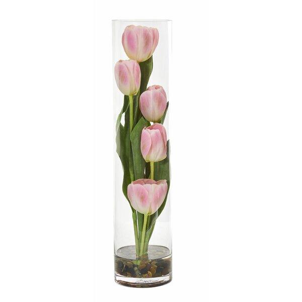 Tulips Floral Arrangement in Cylinder Vase by Orren Ellis