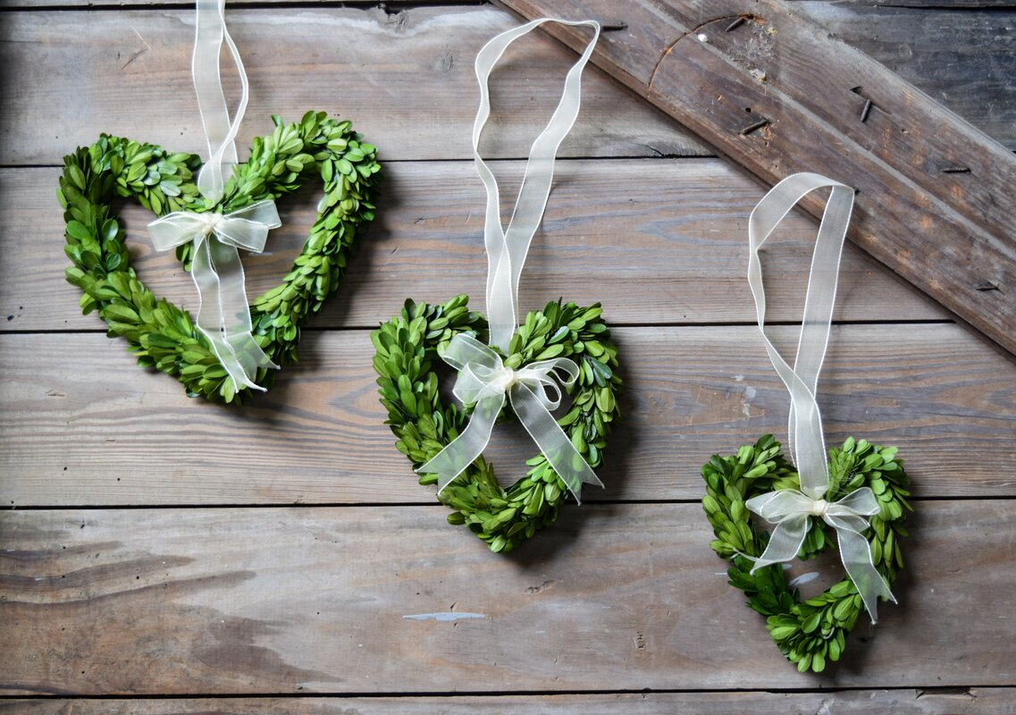 Preserved Boxwood Heart Wreaths