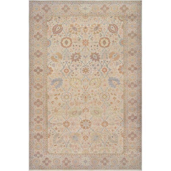 One-of-a-Kind Superb Quality Handwoven Wool Ivory Indoor Area Rug by Mansour