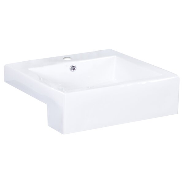 Xena Farmhouse Ceramic Rectangular Vessel Bathroom Sink with Faucet and Overflow by American Imaginations