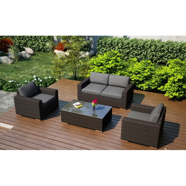Hodge 4 Piece Teak Sofa Set with Sunbrella Cushions by Rosecliff Heights