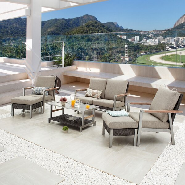 Sevil Outdoor 6 Piece Sofa Seating Group With Cushions By Latitude Run by Latitude Run Savings