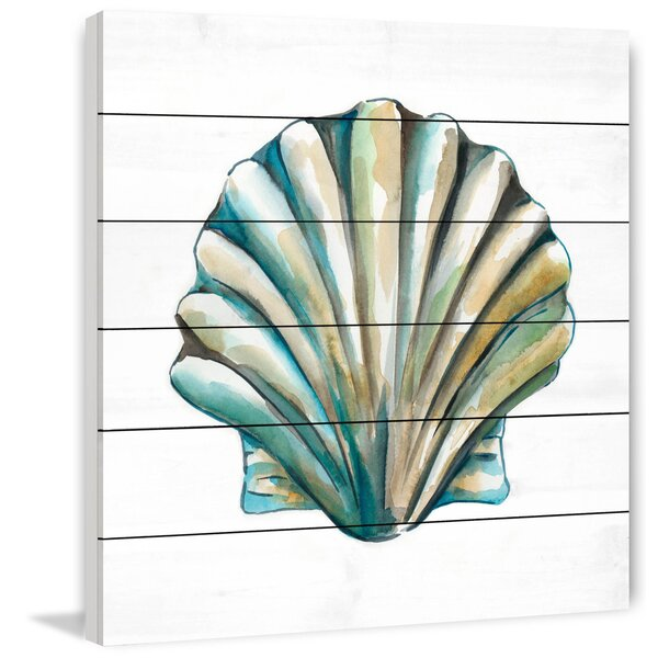 Aquarelle Shells VI Painting Print on White Wood by Marmont Hill
