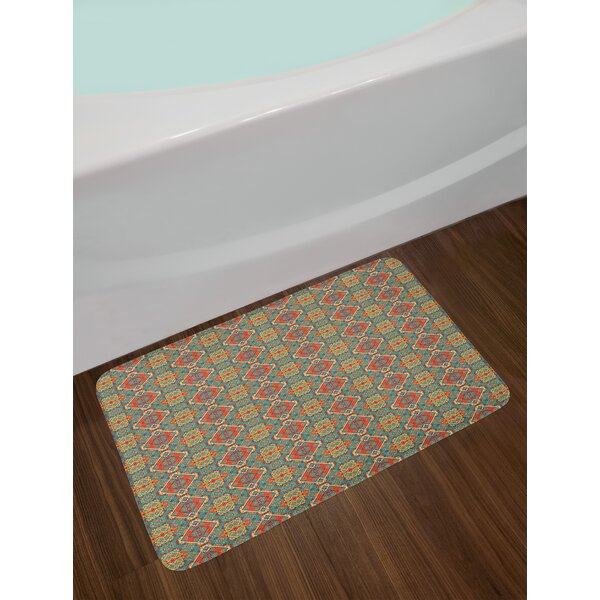Turquoise and Orange Ethnic Native American Bath Rug by East Urban Home
