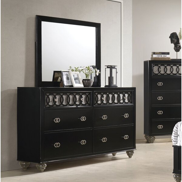 Nims 6 Drawer Double Dresser with Mirror by House of Hampton