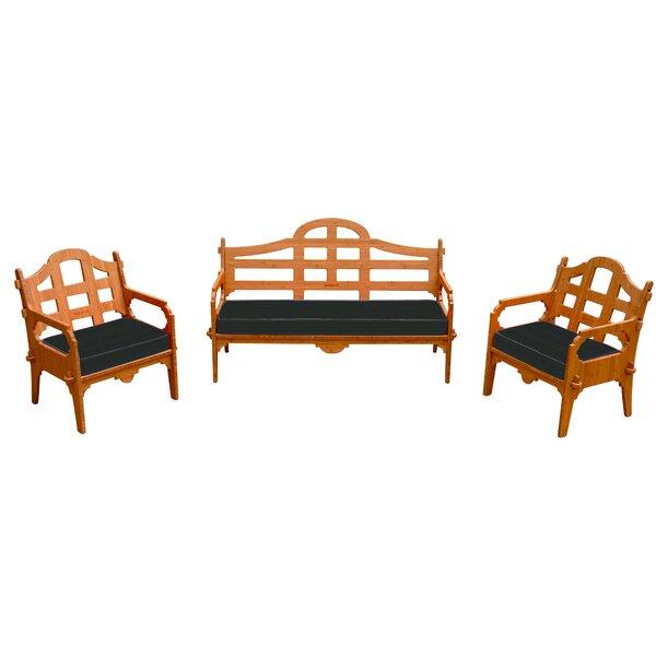Burliegh 3 Piece Sunbrella Sofa Set with Cushions by Loon Peak