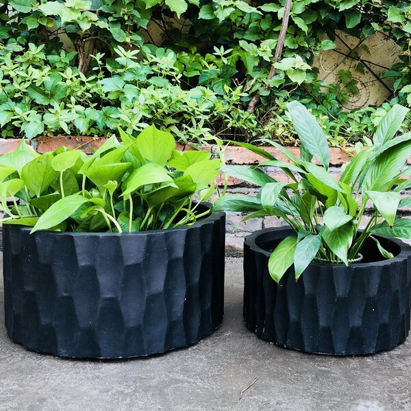 Kimble Rough Surface Cylinder 2-Piece Pot Planter Set (Set of 2) by Wrought Studio