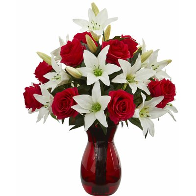 Charlton Home Artificial Roses And Lilies Floral Arrangement In Vase