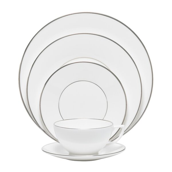 Platinum Fine Bone China 5 Piece Place Setting Set, Service for 1 by Jasper Conran by Wedgwood