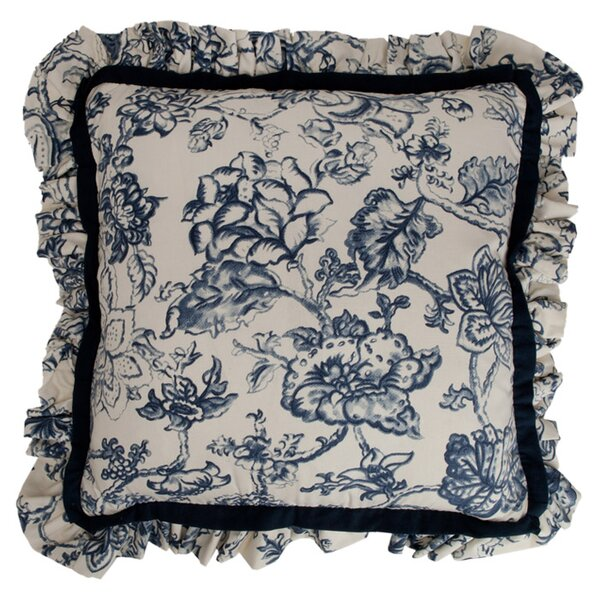 Hampton Classic Print Mini Ruffle Cotton Throw Pillow by Provence Home Collection