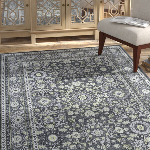 Tyshawn Oriental Gray Area Rug by Bungalow Rose