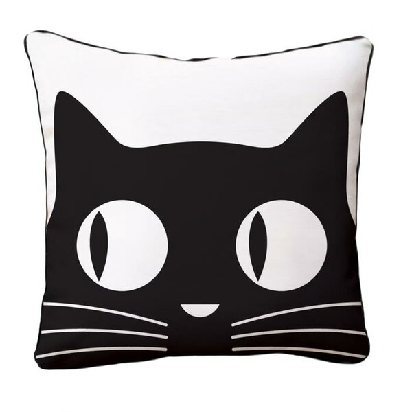 Big Eyes Cat Reversible Cotton Throw Pillow by Naked Decor