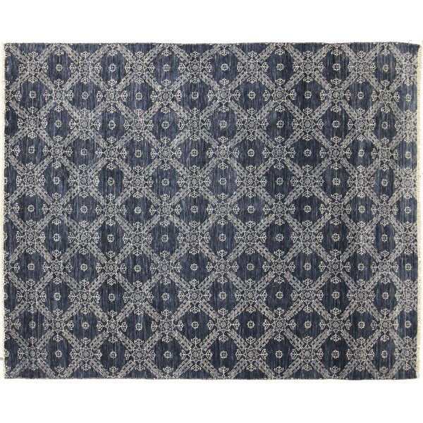 One-of-a-Kind Lona Hand-Knotted Rectangle Wool Blue Area Rug by Isabelline
