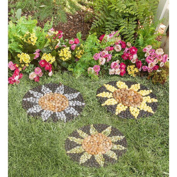 Sunflower Stepping Stone (Set of 3) by Plow & Hearth