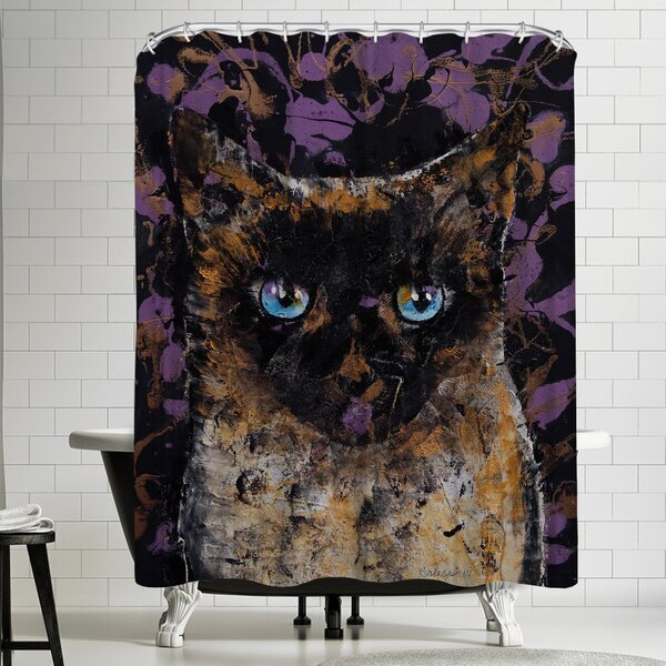 Michael Creese Balinese Cat Shower Curtain by East Urban Home