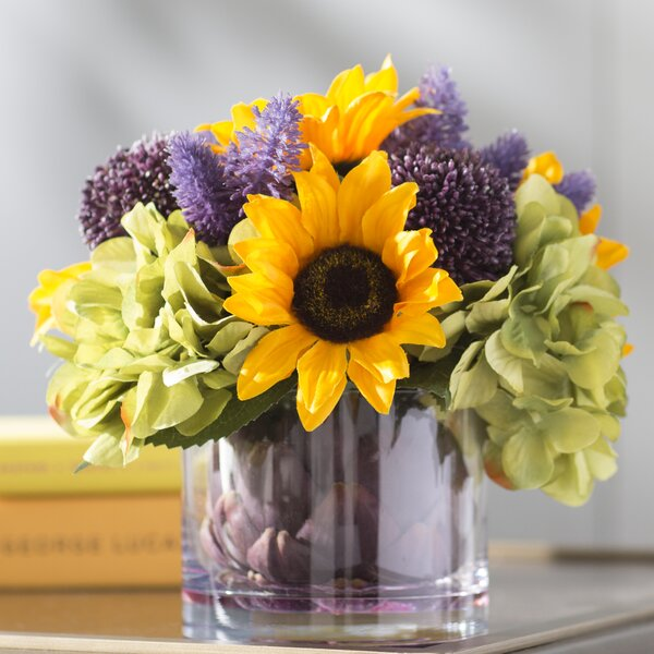 Sunflower Harvest Floral Arrangement in Vase by August Grove