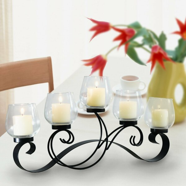 Glass Candelabra by Adeco Trading