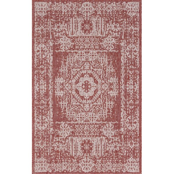 Cozine Red/Beige Indoor/Outdoor Area Rug by Charlton Home