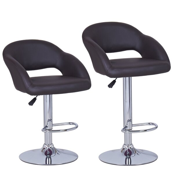 Hanner Adjustable Height Swivel Bar Stool (Set of 2) by Ebern Designs