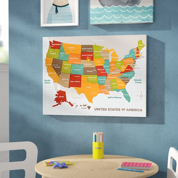 Jorden Wood Grain US Map Canvas Art by Viv + Rae