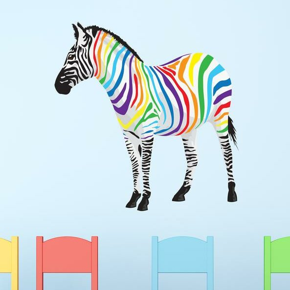 Rainbow Zebra Wall Decal by Style and Apply