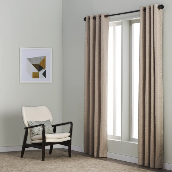 Anaheim Geometric Max Blackout Thermal Grommet Single Curtain Panel by Langley Street