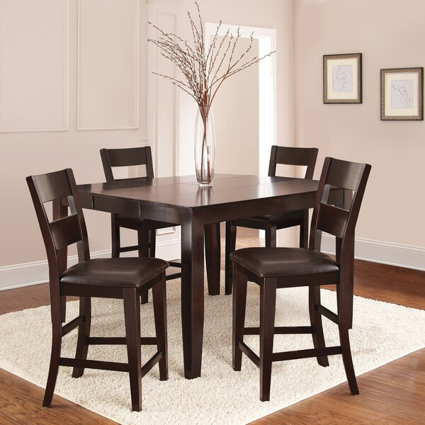 Wynwood 5 Piece Counter Height Solid Wood Dining Set by Alcott Hill Alcott Hill