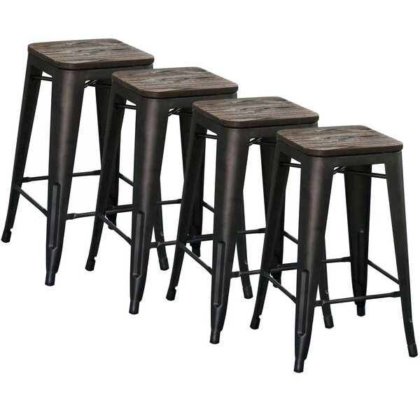 Modus Counter Stool, 26 in Gunmetal (Set of 4) by !nspire