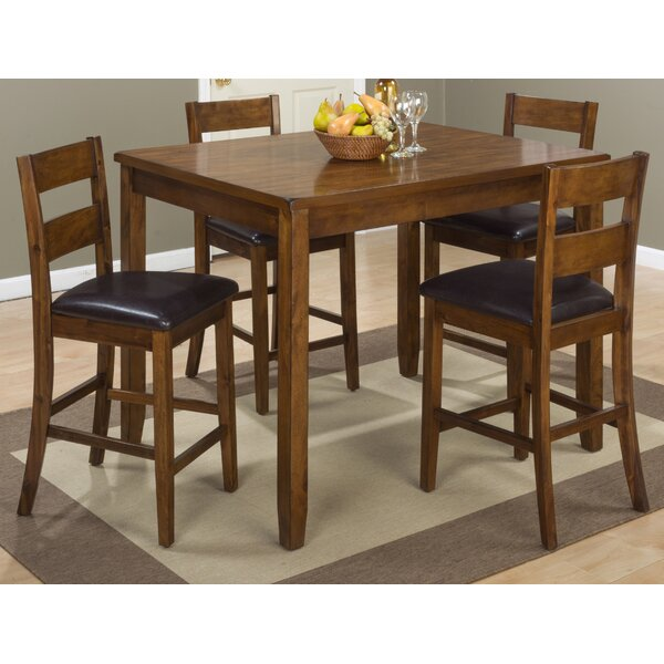 Ismael 5 Piece Counter Height Solid Wood Dining Set by Millwood Pines