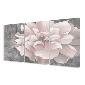 'Pastel Pink Peony' 3 Piece Painting Print Set on Wrapped Canvas by Lark Manor