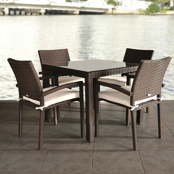 Hillis International Home Outdoor 5 Piece Dining Set with Cushions by Winston Porter