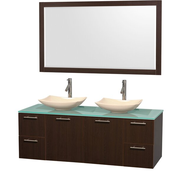 Amare 60 Double Espresso Bathroom Vanity Set with Mirror by Wyndham Collection