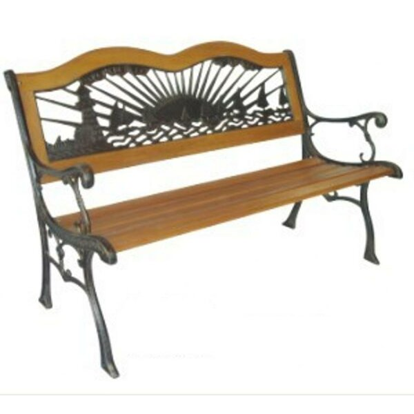 Light House and Sail Boats Wood and Cast Iron Park Bench by DC America