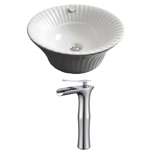 Ceramic Circular Vessel Bathroom Sink with Faucet and Overflow by Royal Purple Bath Kitchen