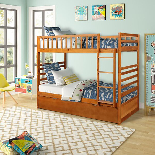 Santino Twin over Twin Bunk Bed with Trundle by Harriet Bee