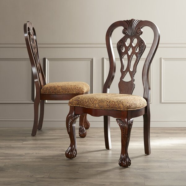Christon Upholstered Queen Anne Back Side Chair In Brown Cherry (Set Of 2) By Astoria Grand