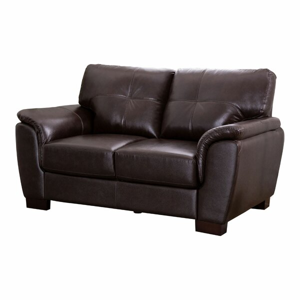 Read Reviews Curran Genuine Leather 62 Pillow top Arm Loveseat by Darby Home Co