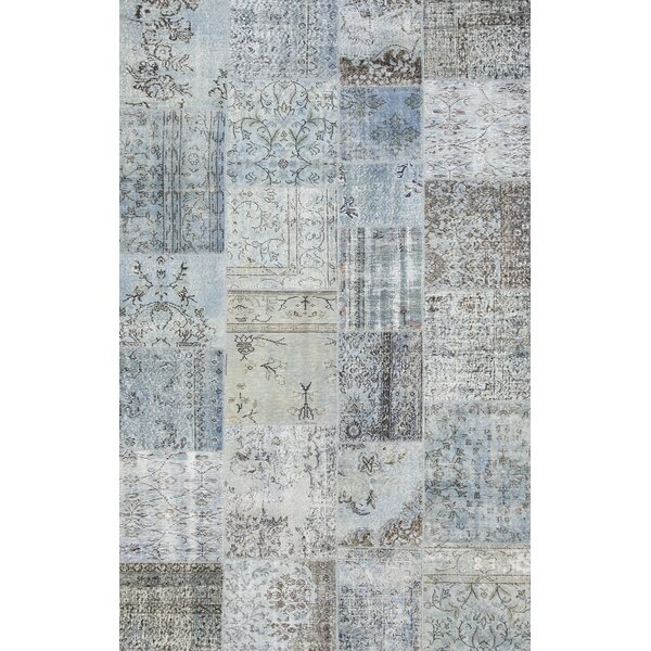 Patchwork Hand-Knotted Blue Area Rug by Pasargad