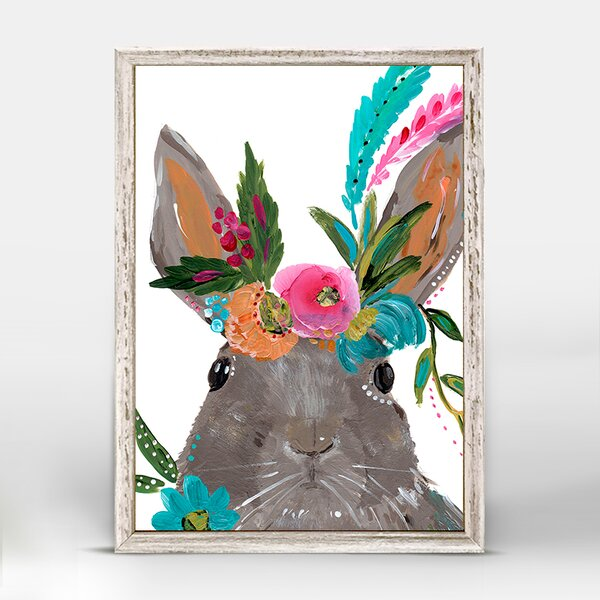 Casey Boho Hare Mini Framed Canvas Art by Bungalow Rose