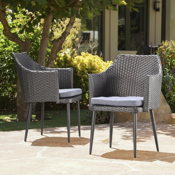 Hiro Patio Dining Chair with Cushion (Set of 2) by George Oliver George Oliver