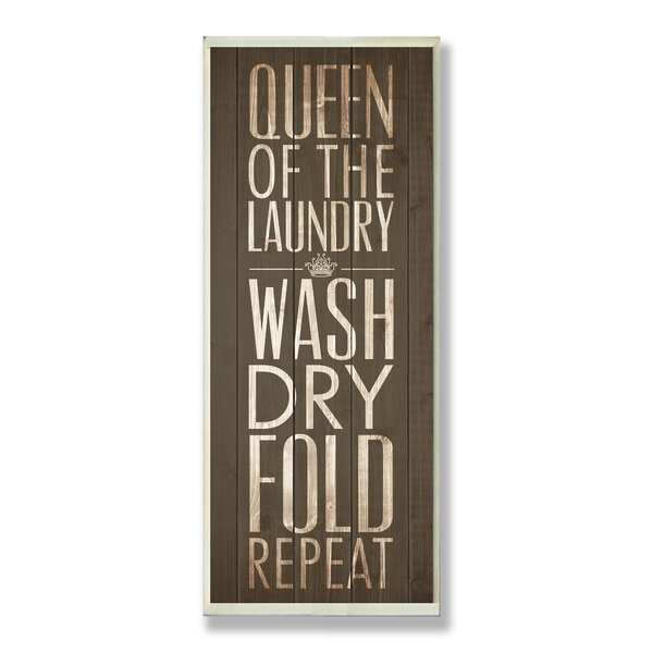 Brown Queen of the Laundry Typography Wall Plaque by Stupell Industries