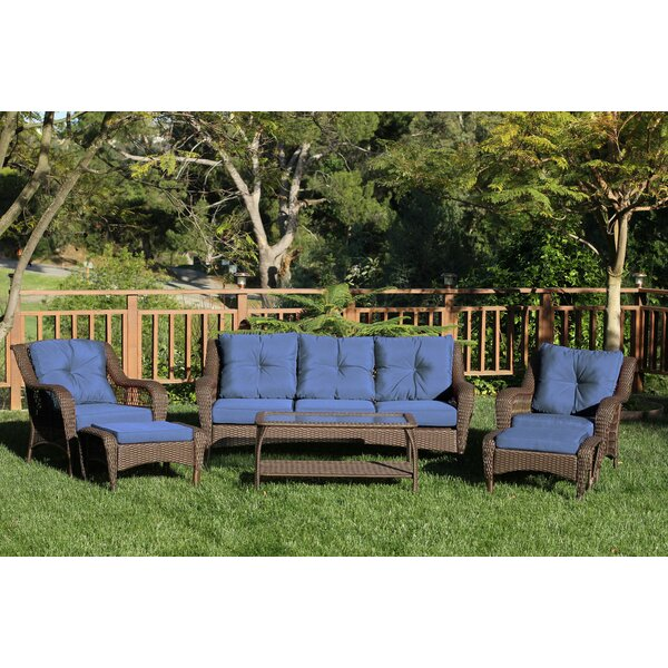 Herrin 6 Piece Rattan Sofa Set with Cushions by Darby Home Co