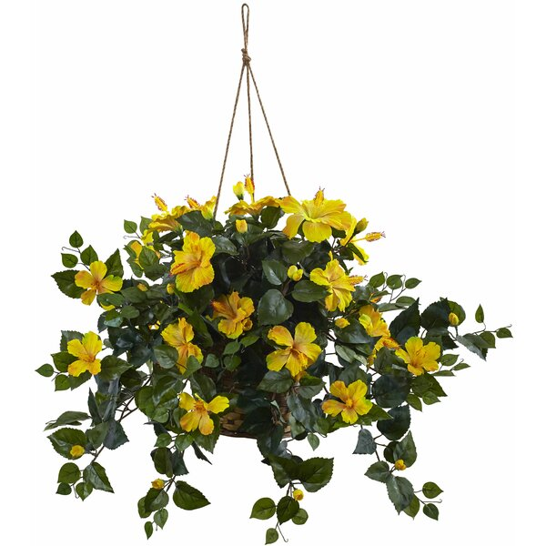 Hibiscus Hanging Basket by Nearly Natural