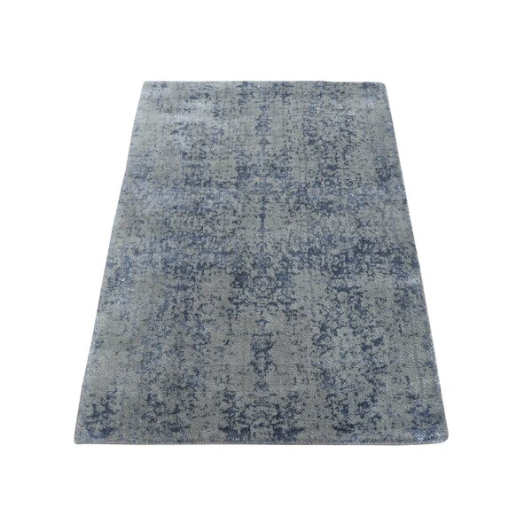One-of-a-Kind Port Morris Abstract Oriental Hand-Knotted Silk Gray Area Rug by World Menagerie