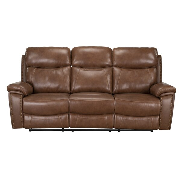 Cheap Good Quality Yeager Genuine Leather Reclining Sofa by Loon Peak by Loon Peak