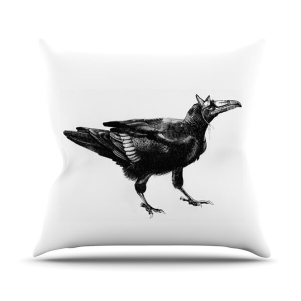Raven Outdoor Throw Pillow by East Urban Home
